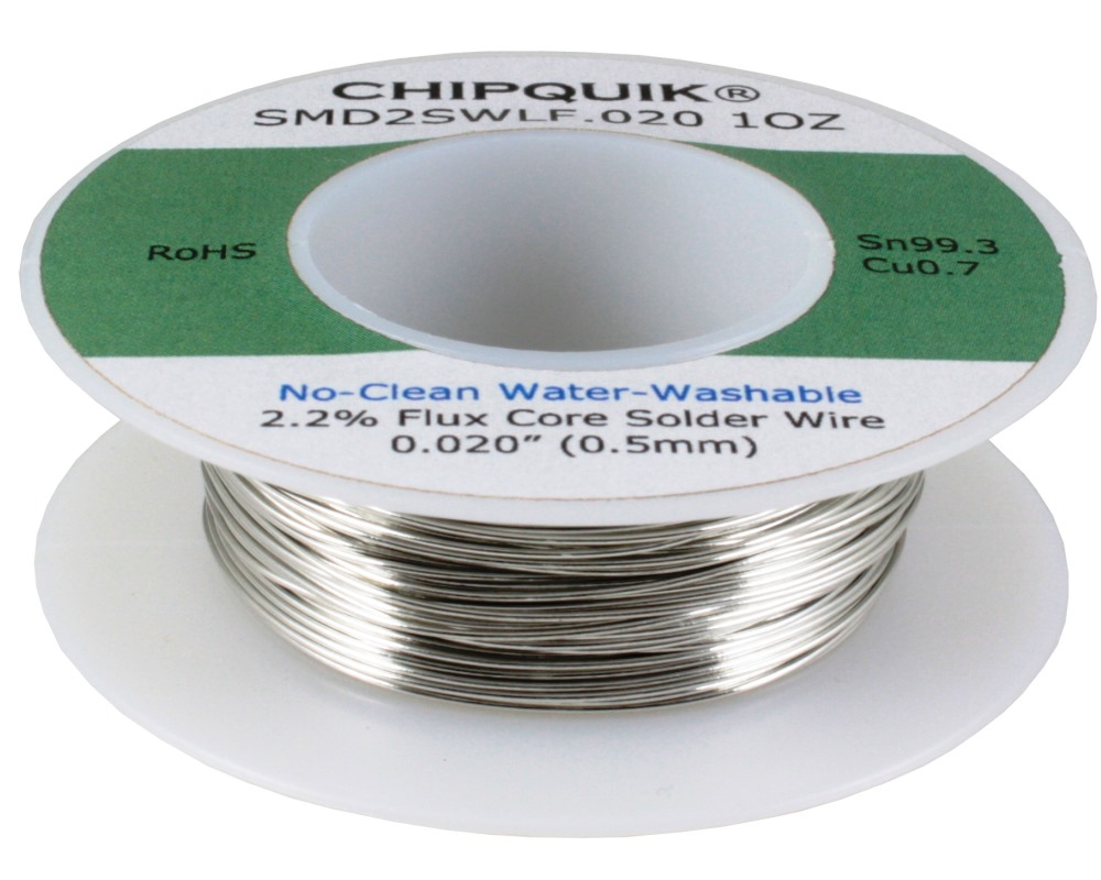 LF Solder Wire 99.3/0.7 Tin/Copper No-Clean Water-Washable .020 1oz 0